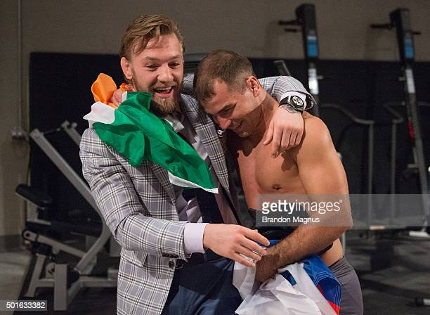 Conor McGregor hugs Artem Lobov after his knockout victory over Julian Erosa during the filming of The Ultimate Fighter Team McGregor vs Team Faber...
