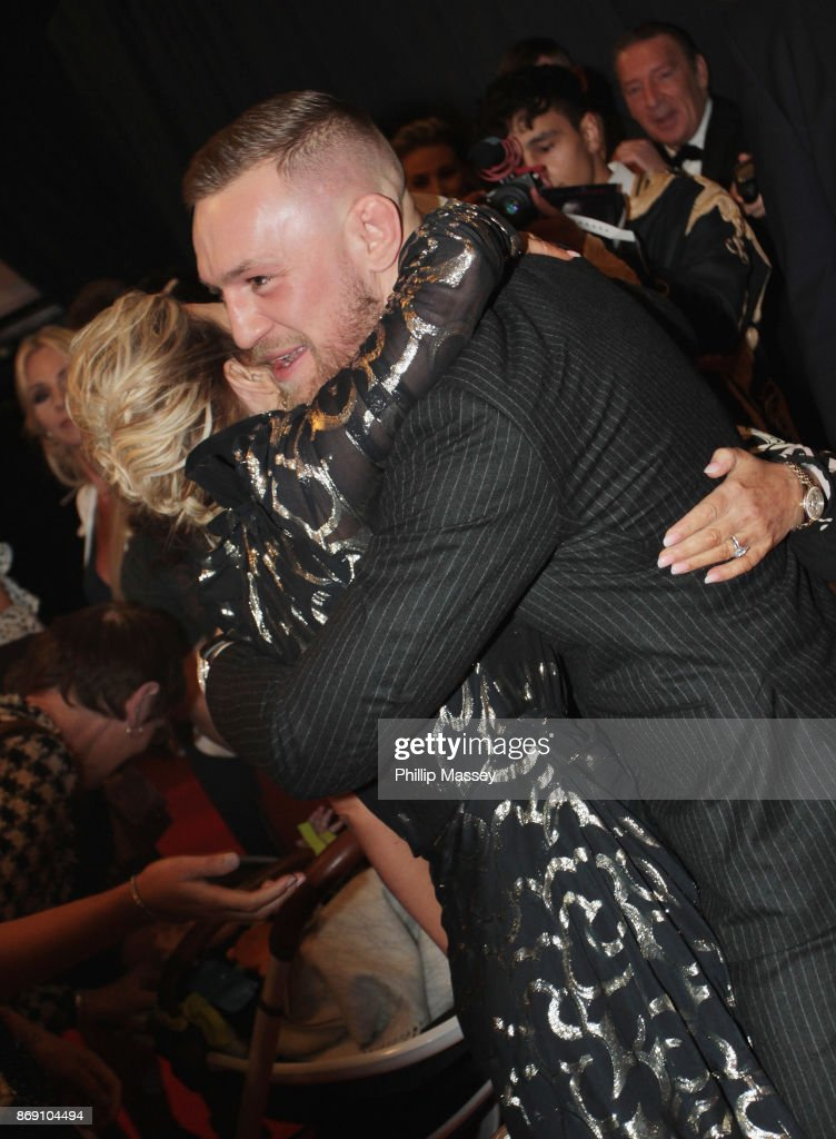 Conor McGregor hugs his sister at the Irish premiere of 'Conor McGregor: Notorious' held at the Savoy Cinema on November 1, 2017 in Dublin, Ireland.