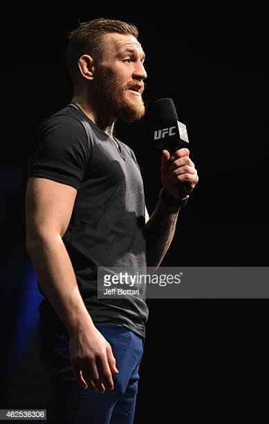 Conor McGregor interacts with the fans during a QA before the UFC 183 weighin at the MGM Grand Garden Arena on January 30 2015 in Las Vegas Nevada