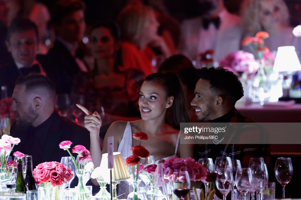Conor McGregor, Irina Shayk and Lewis Hamilton during The Fashion Awards 2017 in partnership with Swarovski at Royal Albert Hall on December 4, 2017 in London, England.