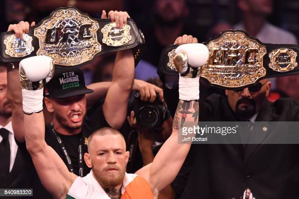 Conor McGregor is introduced prior to facing Floyd Mayweather Jr in their super welterweight boxing match at TMobile Arena on August 26 2017 in Las...