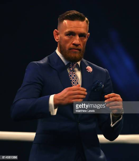 Conor McGregor looks on during the Floyd Mayweather Jr v Conor McGregor World Press Tour at SSE Arena on July 14 2017 in London England