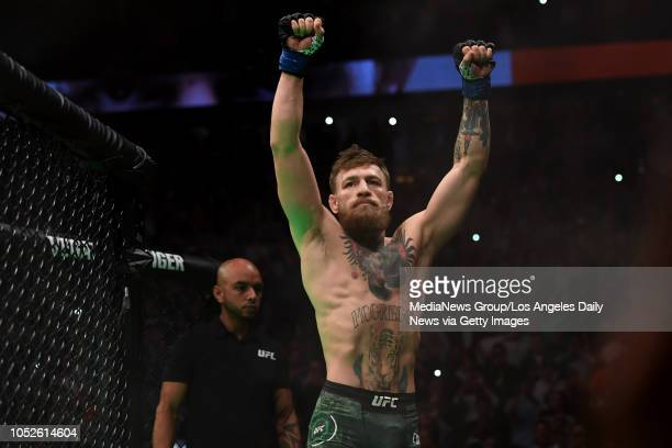 Conor McGregor makes his way to the cage to fight Khabib Nurmagomedov during UFC 229 at the TMobile Arena in Las Vegas Nev Friday Oct 6 2018
