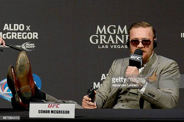 Conor McGregor of Ireland addresses the media at the UFC 189 World Media Tour Launch press conference at Maracanazinho on March 20 2015 in Rio de...