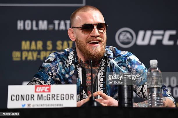 Conor McGregor of Ireland answers questions from the media during the UFC 197 onsale press conference event inside MGM Grand Hotel Casino on January...