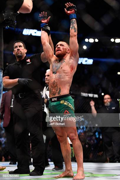 Conor McGregor of Ireland celebrates after defeating Nate Diaz in their welterweight bout during the UFC 202 event at T-Mobile Arena on August 20,...