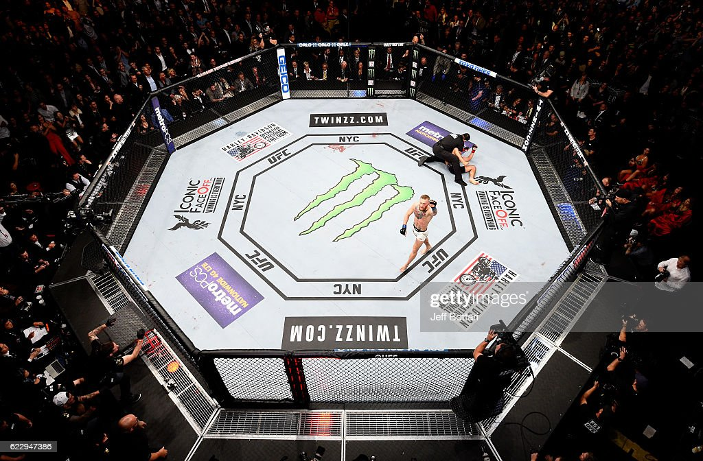 Conor McGregor of Ireland celebrates his KO victory over Eddie Alvarez of the United States in their lightweight championship bout during the UFC 205 event at Madison Square Garden on November 12, 2016 in New York City.