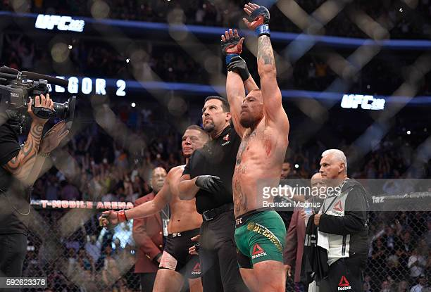 Conor McGregor of Ireland celebrates his victory over Nate Diaz in their welterweight bout during the UFC 202 event at T-Mobile Arena on August 20,...