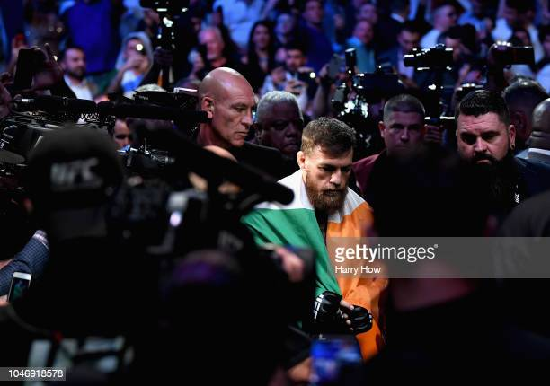 Conor McGregor of Ireland enters the arena before competing against Khabib Nurmagomedov of Russia in their UFC lightweight championship bout during...