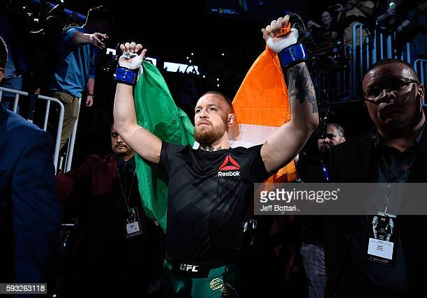 Conor McGregor of Ireland enters the arena prior to facing Nate Diaz in their welterweight bout during the UFC 202 event at T-Mobile Arena on August...