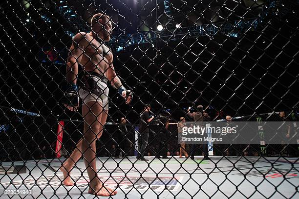 Conor McGregor of Ireland enters the Octagon before facing Eddie Alvarez in their UFC lightweight championship fight during the UFC 205 event at...