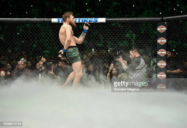 Conor McGregor of Ireland enters the Octagon before facing Khabib Nurmagomedov of Russia in their UFC lightweight championship bout during the UFC...