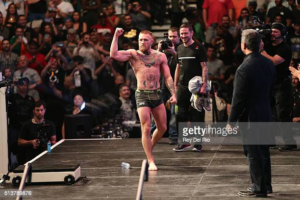 Conor McGregor of Ireland entertains the fans during the UFC 196 Weighin at the MGM Grand Garden Arena on March 4 2016 in Las Vegas Nevada