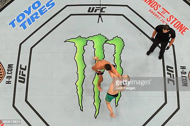 Conor McGregor of Ireland fights Nate Diaz in their welterweight bout during the UFC 202 event at TMobile Arena on August 20 2016 in Las Vegas Nevada