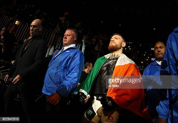 Conor McGregor of Ireland heads to the octagon for his fight against Eddie Alvarez of the United States in their lightweight championship bout during...