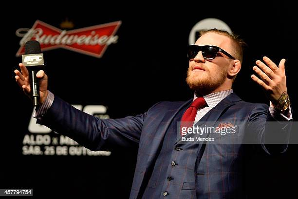 Conor McGregor of Ireland interacts with fans during a QA session before the UFC 179 weighin at Maracanazinho on October 24 2014 in Rio de Janeiro...