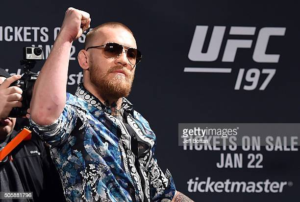 Conor McGregor of Ireland interacts with he crowd during the UFC 197 onsale press conference event inside MGM Grand Hotel Casino on January 20 2016...