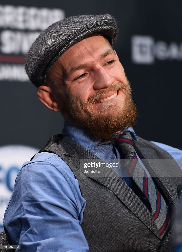 Conor McGregor of Ireland interacts with the media at the post fight press conference during the UFC Fight Night event at the TD Garden on January 18, 2015 in Boston, Massachusetts.