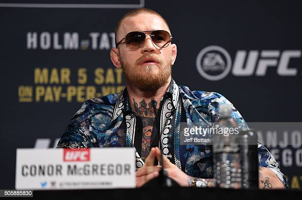 Conor McGregor of Ireland interacts with the media during the UFC 197 onsale press conference event inside MGM Grand Hotel Casino on January 20 2016...