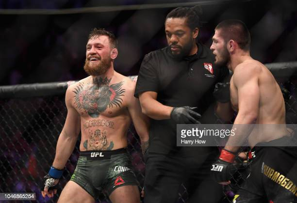 Conor McGregor of Ireland laughs after the second round in their UFC lightweight championship bout during the UFC 229 event inside TMobile Arena on...