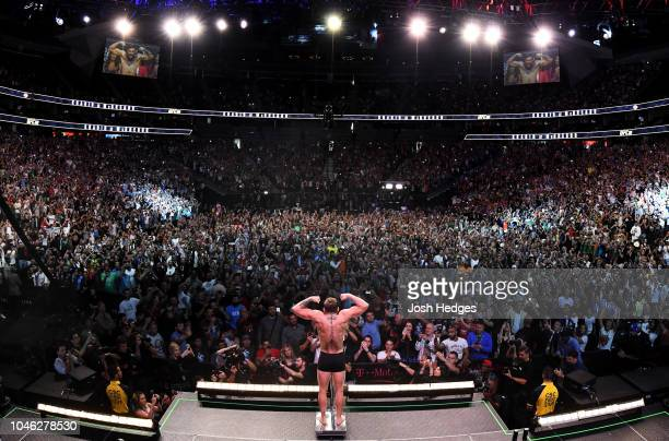Conor McGregor of Ireland poses on the scale during the UFC 229 weigh-in inside T-Mobile Arena on October 5, 2018 in Las Vegas, Nevada.
