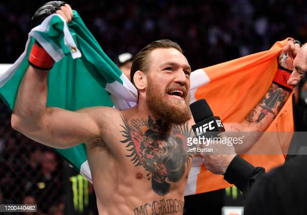 Conor McGregor of Ireland reacts to his win over Donald Cerrone in their welterweight fight during the UFC 246 event at TMobile Arena on January 18...