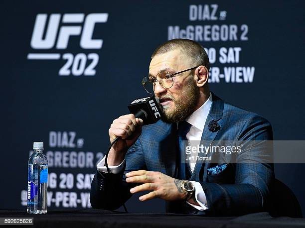 Conor McGregor of Ireland speaks with the media during the UFC 202 news conference at TMobile Arena on August 20 2016 in Las Vegas Nevada
