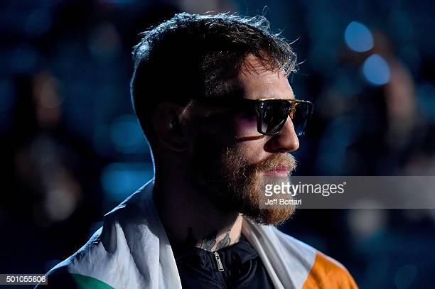 Conor McGregor of Ireland waits backstage during the UFC 194 Weighin event at the MGM Grand Garden Arena on December 11 2015 in Las Vegas Nevada