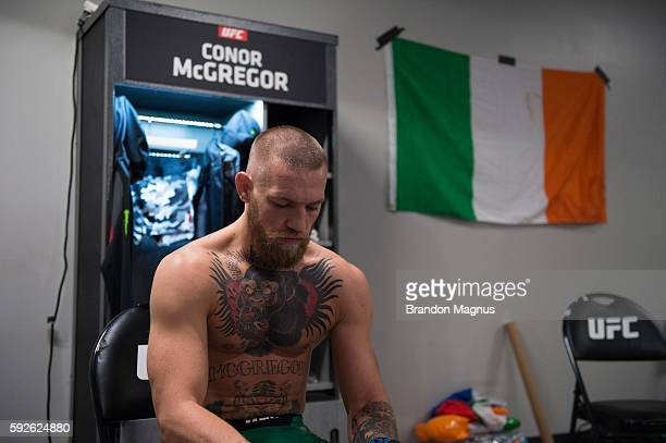 Conor McGregor of Ireland warms up backstage during the UFC 202 event at T-Mobile Arena on August 20, 2016 in Las Vegas, Nevada.