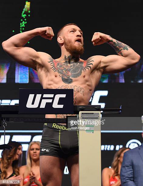 Conor McGregor of Ireland weighs in during the UFC 196 Weigh-in at the MGM Grand Garden Arena on March 4, 2016 in Las Vegas, Nevada.