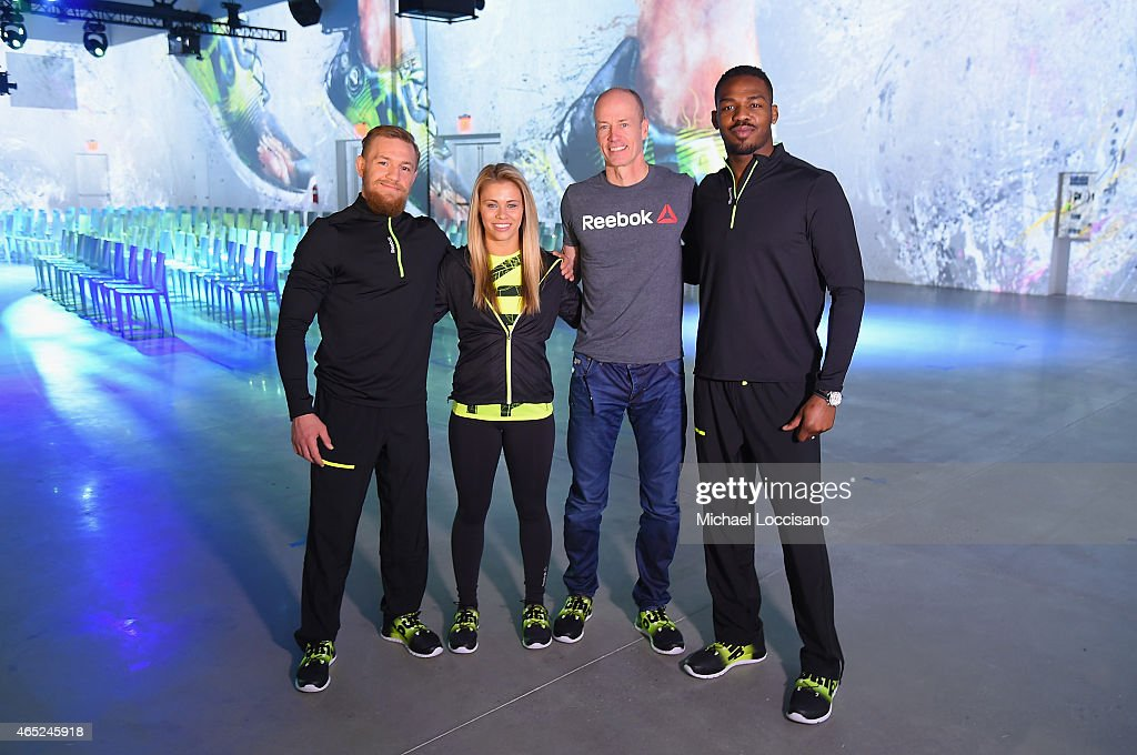 Conor McGregor, Paige VanZant, Matt O'Toole and Jon Jones attend Reebok's launch of the revolutionary new ZPump Fusion on March 4, 2015 in New York City.