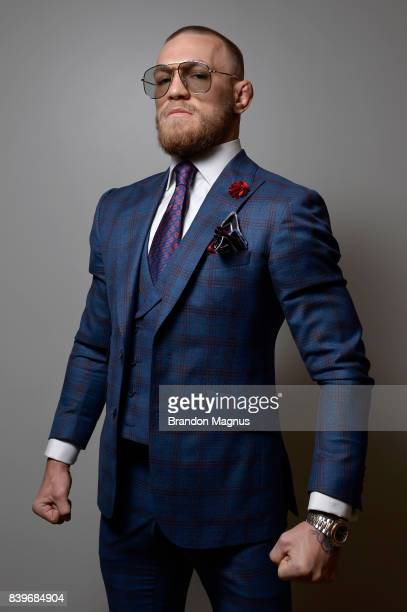 Conor McGregor poses for a photograph prior to his super welterweight boxing match against Floyd Mayweather Jr on August 26 2017 at TMobile Arena in...