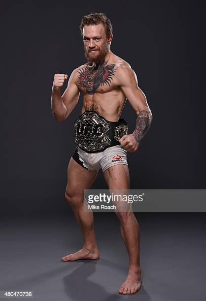 Conor McGregor poses for a portrait backstage during the UFC 189 event inside MGM Grand Garden Arena on July 11 2015 in Las Vegas Nevada