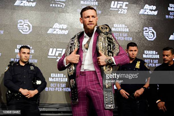Conor McGregor poses for photos during the UFC 229 Press Conference at Radio City Music Hall on September 20 2018 in New York City