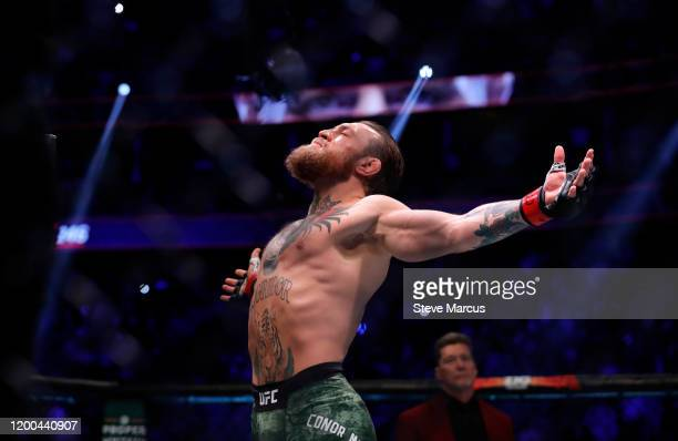 Conor McGregor prepares for his welterweight bout against Donald Cerrone during UFC246 at TMobile Arena on January 18 2020 in Las Vegas Nevada