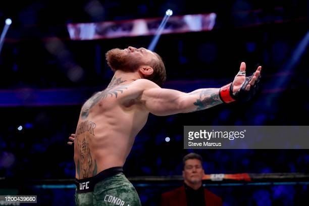 Conor McGregor reacts before taking on Donald Cerrone in their welterweight bout during UFC246 at TMobile Arena on January 18 2020 in Las Vegas Nevada