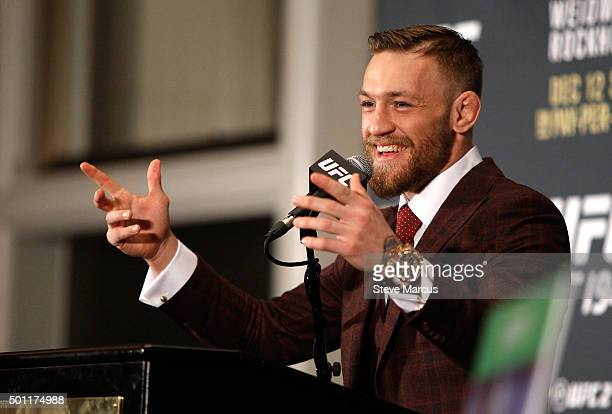 Conor McGregor speaks at a post-fight press conference after beating Jose Aldo in their featherweight title fight during UFC 194 at MGM Grand Garden...