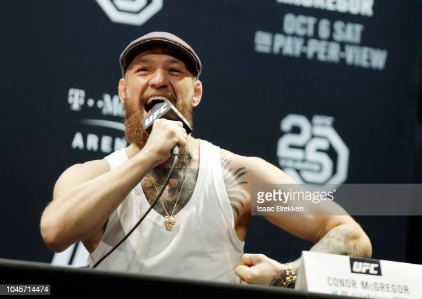 Conor McGregor speaks during a press conference for UFC 229 at Park Theater at Park MGM on October 04, 2018 in Las Vegas, Nevada. McGregor will...