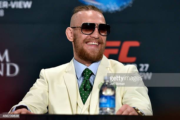 Conor McGregor speaks to the media during the UFC 178 post fight press conference inside the MGM Grand Hotel/Casino on September 27 2014 in Las Vegas...