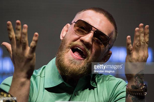 Conor McGregor speaks to the media during the UFC 202 Press Conference at TMobile Arena on July 7 2016 in Las Vegas Nevada