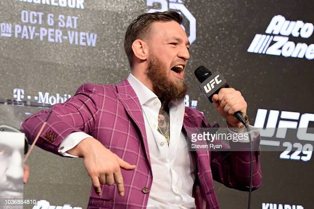Conor McGregor speaks to the media during the UFC 229 Press Conference at Radio City Music Hall on September 20 2018 in New York City