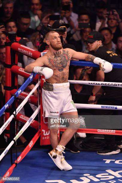 Conor McGregor stands in his corner prior to facing Floyd Mayweather Jr in their super welterweight boxing match at TMobile Arena on August 26 2017...