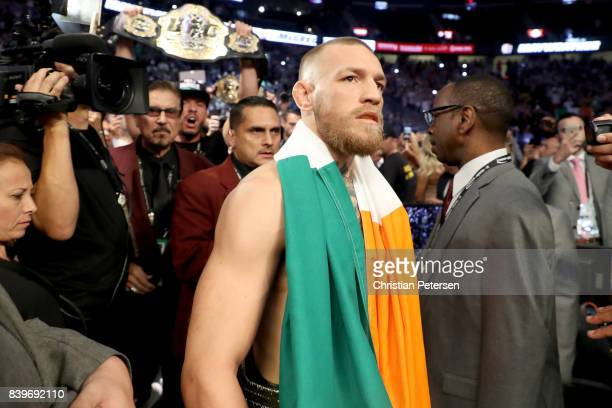 Conor McGregor walks to the ring prior to his super welterweight boxing match against Floyd Mayweather Jr. On August 26, 2017 at T-Mobile Arena in...
