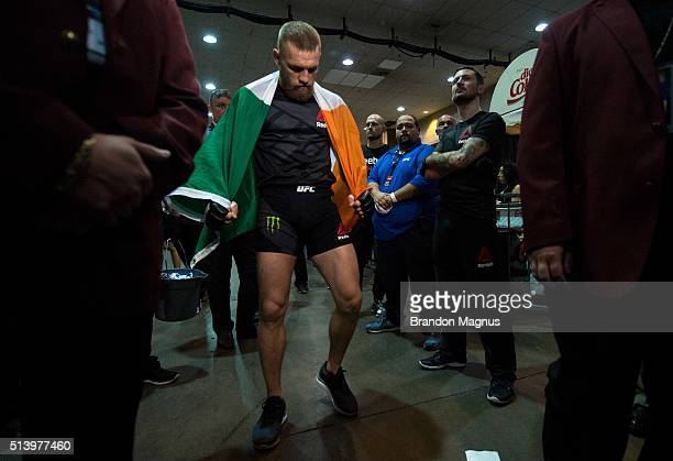 Conor McGregor warms up backstage during the UFC 196 in the MGM Grand Garden Arena on March 5 2016 in Las Vegas Nevada