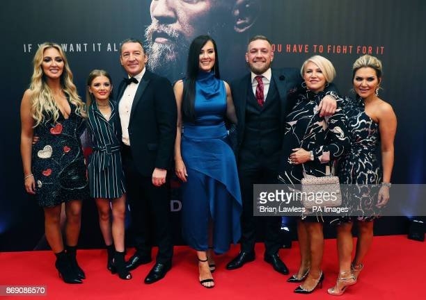 Conor McGregor with his partner Dee Devlin father Tony mother Margaret and sisters Erin and Aoife on arrival at the Conor McGregor Notorious premiere...