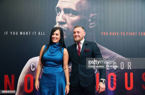 Conor McGregor with his partner Dee Devlin on arrival at the Conor McGregor Notorious premiere at the Savoy Cinema in Dublin