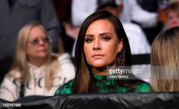 Conor McGregor's girlfriend Dee Devlin waits for McGregor's welterweight bout against Donald Cerrone during UFC246 at TMobile Arena on January 18...