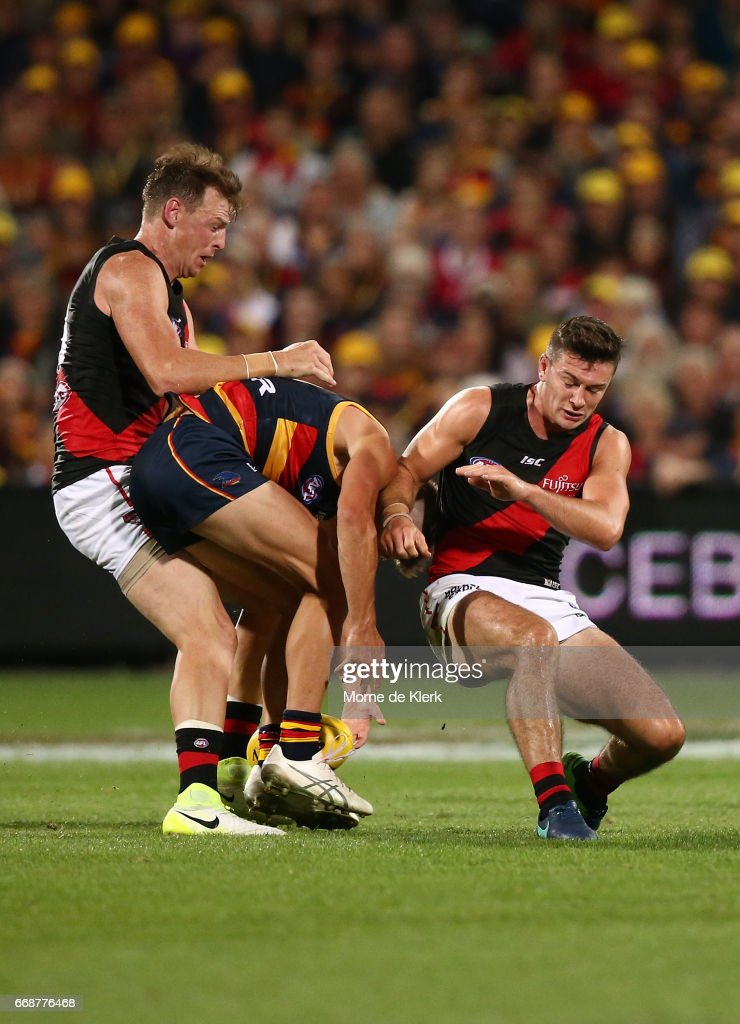 Conor McKenna of the Bombers bumps Riley Knight of the Crows during the round four AFL match between the Adelaide Crows and the Essendon Bombers at Adelaide Oval on April 15, 2017 in Adelaide, Australia.