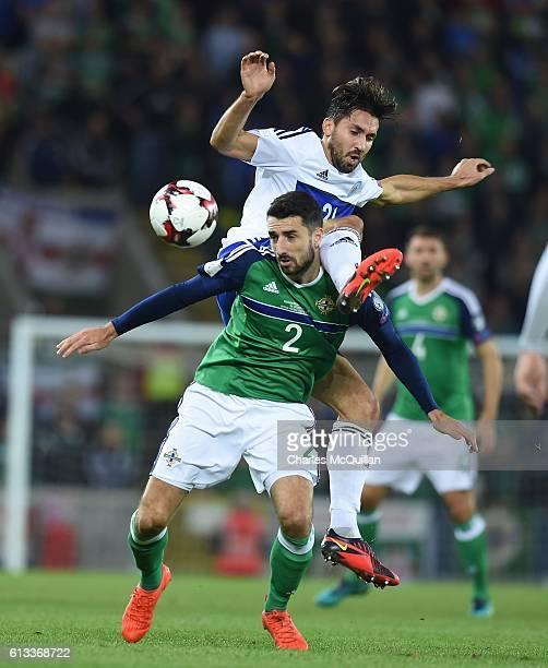 Conor McLaughlin of Northern Ireland and Mirko Palazzi of San Marino during the FIFA 2018 World Cup Qualifier between Northern Ireland and San Marino...