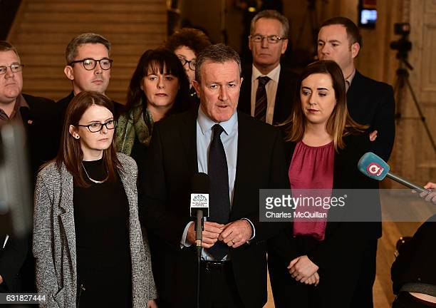 Conor Murphy and members of Sinn Fein hold a press conference in the Great Hall at Stormont as they give their reaction to the snap elections called...